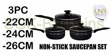 3PC NON STICK INDUCTION COOKWARE SET WITH GLASS LID KITCHEN PAN POT SAUCEPAN P22