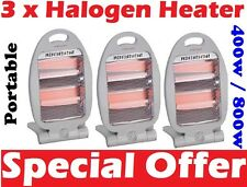 3 x Quartz Halogen Small Portable Electric Heater 400W / 800W Free Standing New