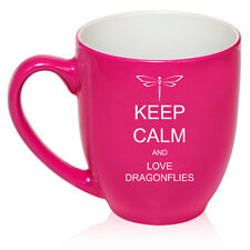 16oz Bistro Mug Ceramic Coffee Tea Glass Cup Keep Calm and Love Dragonflies
