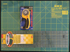 OLFA SET CUTTING MAT 24'' X 18' +ROTARY CUTTER RTY-3/DX & FROSTED RULER 6''X24''