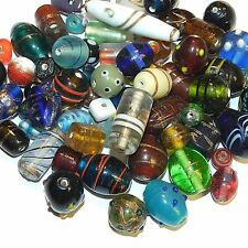 G889f Assorted Mixed Shape Color & Size 6-27mm Lampwork Glass Bead Mix 250-grams
