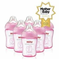 NUBY  NATURAL TOUCH  260ML FEEDING BOTTLES PACK OF 6   BOYS OR GIRLS  BPA FREE