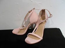 bnwt size 3  textured pastel pink suede effect  stiletto heel strappy shoes