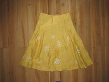 Hobbs, linen yellow embroidered white cut out daisy skirt, size 10