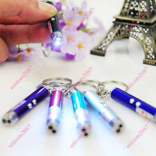 Mini Ultraviolet Money Detector Red Laser Pen LED Flashlight Keychain Carry CAD