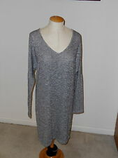 VELVET GRAHAM & SPENCER METALLIC LONG DOLMAN SLEEVE ABOVE KNEE SWEATER DRESS L