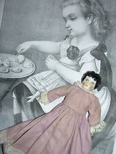 Small German, antique dollhouse-size china doll, original sawdust stuffed body