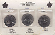 1977 Canada Three Type Dollars - Mounted on Card