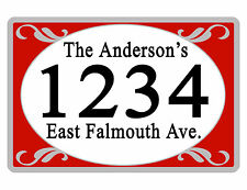 Personalized ADDRESS Sign YOUR NAME Weather Proof Aluminum SIGN FULL COLOR Red