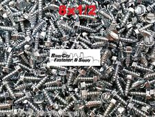 (2000) #8 x 1/2 Slotted Hex Washer Head Self Tapping Sheet Metal Screws SMS