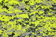 "DIGITAL CAMO SAFETY YELLOW POLYESTER KNIT INTERLOCK ATHLETIC FABRIC BY YARD 60""W"