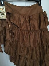 Ladies Skirt Renaissance Tier Size Small Ruffle Suede Brown Polyester Bar Maid
