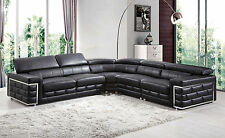 Modern 4 Pcs Top Grain Leather Match Living Room Sectional Black Sofa Couch Set