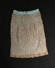 KENZO - Classic Teal Blue Silk Brown Chantilly Lace Overlay Straight Skirt Sz 36