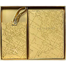GIFT NIB New Eccolo Travel Gift Set Passport Case & Luggage Tag World Map Print