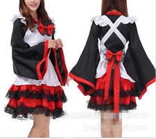 Anime Kimono Sleeve Cosplay Lolita Maid Uniform Outfit Witch Dress Party Costume