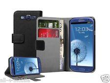 Billetera De Cuero Negro Flip Funda Protectora Pouch Para Samsung Galaxy S3 gt-i9301 Neo