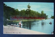 OLD CHANNEL White Lake, Montague, Michigan, vintage postcard, postmarked 1909