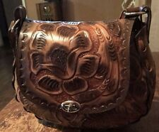 Mexican Floral Leather Bag NWT,bohemian,Vintage 70's,Hippie