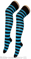 New Ladies Funky Turquoise And Black Stripe Teens Over The Knee Sock Fancy Dress