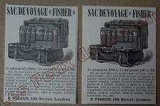 Publicité ancienne  Sac de voyage Fischer Londres, argent   1888