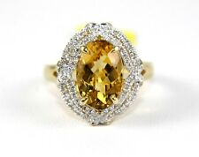 Oval Orange Citrine Lady's Solitaire Ring w/Diamond Halo 14k Yellow Gold .87Ct