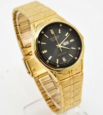 Citizen Quartz Man Day Date Gold Stainless Steel  Crystal Dial Analog Watch 182M
