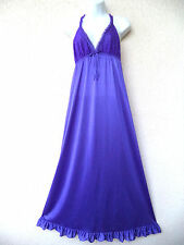 Vintage Nylon NIGHTGOWN Sexy Plunging Neckline LONG Nice Sweep LACE Purple S M