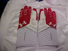 NFL Highlight Under Armour Football Gloves White/Red Silicone Gloves Size 2XL