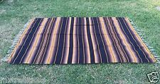 """Mexican Blanket Sarape Dark Brown-Yellow Recycle Acrylic""""84x60""""Made Mexico"""
