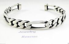 Men's Cuff Bracelet Figaro Chain Design Oxidized Brushed .925 Sterling Silver