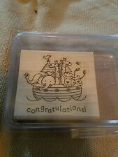 Retired Stampin Up TWO BY TWO Noah's Ark Animals Baby Shower Congratulations