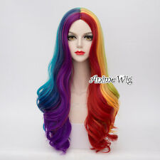 Mixed-Colors Curly Long 70CM Rainbow Girls Heat Resistant Cosplay Lolita Wig