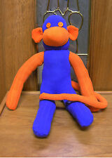 "20"" Bronco Blue & Orange Sock Monkey Hand Made New Plush Stuffed unique"