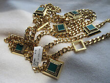 """NEW ST JOHN KNIT WOMENS 31"""" 34"""" 36"""" GOLD & GREEN CHAIN  BELT OR NECKLACE"""
