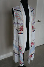 Johnny Was JWLA White Floral Embroidered Long BOHO Draped Linen Vest Jacket S