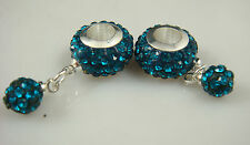 Gorgeous Czech Crystals Dangle Bead fit European Charm 925 Bracelet Earrings s1
