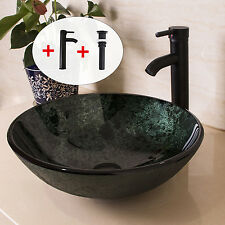 Bathroom Glass Vessel Sink Round Bowl Oil Rubbed Bronze Faucet Pop-up Drain