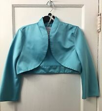 David's Bridal Pool Blue Jacket / Satin cover up coat size 12