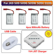 4pcs 3.7V 800mAh Lipo Battery+4in1 Charger for JXD 509 509W 509G 510G RC Drone