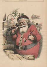 Nast, Hello Santa Claus, Hello Little One, 2 pgs Vintage 1884 Antique Art Print,