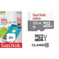 Sandisk 32gb Micro SD Card Class 10 48MB/s UHS-1 SDHC TF Memory Card + Adaptor