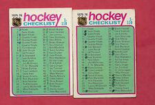 2 X 1975-76 TOPPS CHECKLIST CARD