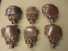 Antique Walnut Diamond Pattern Leather Pool Table Pockets w/ Shield Set of 6