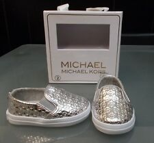 NEW IN BOX BABY GIRLS SIZE 2 (3-6 MONTHS) SILVER SLIP ON MICHAEL KORS SHOES