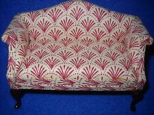 Dollhouse miniature:  red and ivory sofa by Bespaq, 1:12 scale, #3316