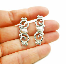 Taxco Deco 925 Sterling Silver Bead Earrings