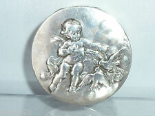 Antique French solid Silver Cherub Dove Birds Patch Box