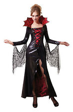 SEXY BLACK&RED MIDNIGHT VAMPIRESS WOMEN ADULT COSTUME FOR FANCY DRESS HALLOWEEN