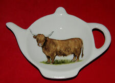 BN Highland Cow Tea Bag Tidy, Tea Bag Rest, Porcelain Ceramic Tea Bag Holder